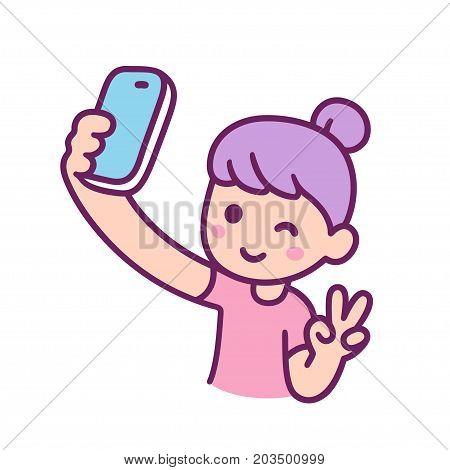 Cute cartoon teen girl with purple hair takes selfie. Vector illustration.