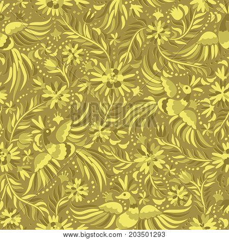 Mexican embroidery golden seamless pattern. Gold ethnic pattern. Birds and flowers golden background. Floral background with ethnic ornament.