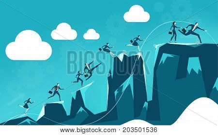 Lots of young business people running and jumping over the mountain peaks on the way to the best professional position. Business concept illustration.