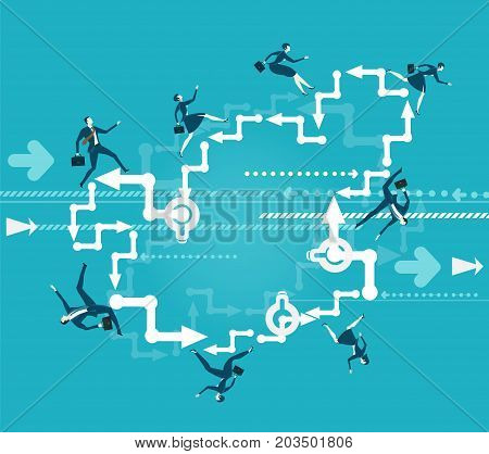 Lots of business people running and jumping around the circle in a hurry to get the best professional position. Business concept illustration.