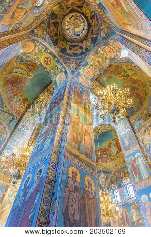 Saint Petersburg Russia - July 10 2017: Interior of Church of the Savior on Spilled Blood in Saint Petersburg Russia