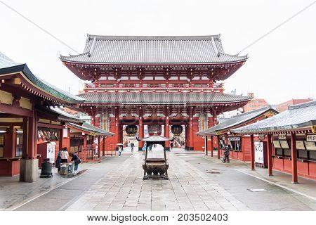 Tokyo Japan - April 07 2017: Sensoji (Asakusa Kannon) a famous ancient Buddhist temple in Tokyo Japan