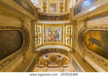 Interior Of Saint Isaac's Cathedral The Largest Russian Orthodox Cathedral In Saint Petersburg, Russ