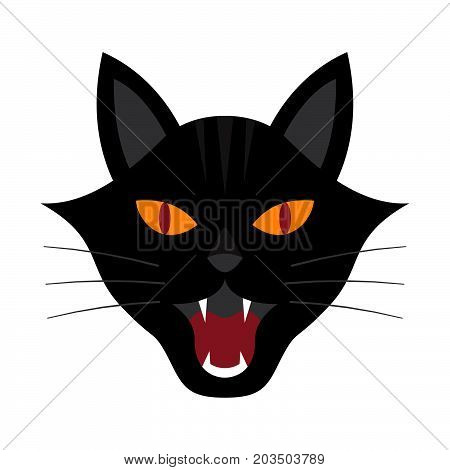 Halloween festival and celebration abstract background growl black cat head vector illustration.