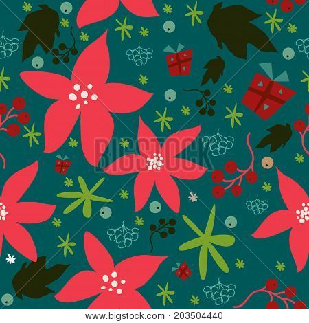 Seamless floral pattern of hand drawn poinsettia berries leafs snowflakes. Winter/Fall/Merry Christmas Collection. Great For backgrounds wrapping paper prints wallpaper cards textiles etc