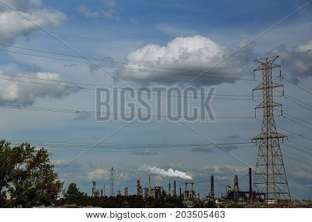 Industrial View,a Equipment Of Oil Refining,oil And Gas Refinery Area