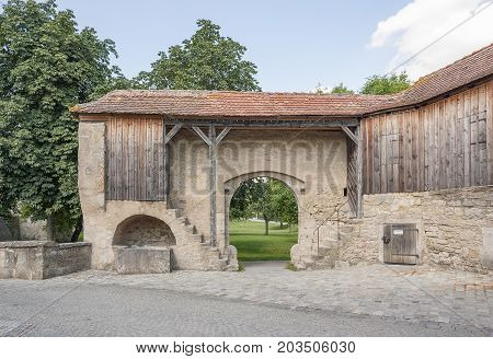 historic building with gate at Rothenburg ob der Tauber a town in Middle Franconia in Bavaria Germany