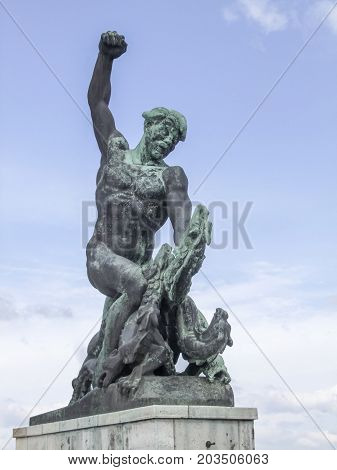 part of the Liberty statue at the Citadella on Gellert Hill in Budapest the capital city of Hungary