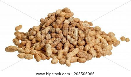 pile of peanuts with nutshell in white back