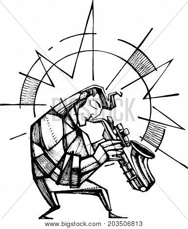 Hand drawn vector illustration or ink drawing of a sax player