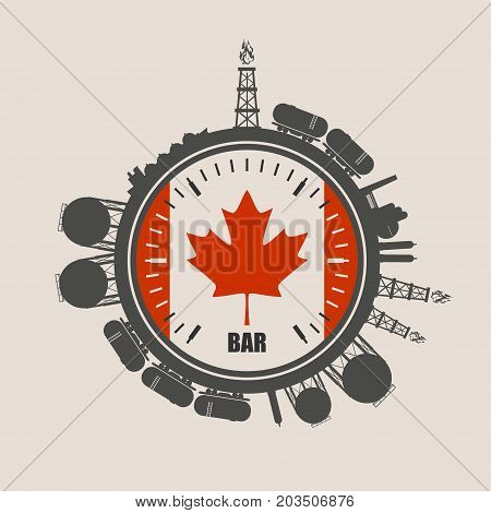 Circle with energy relative silhouettes. Design set of natural gas industry. Objects located around the manometer circle. Flag of the Canada
