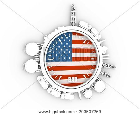 Circle with energy relative silhouettes. Design set of natural gas industry. Objects located around the manometer circle. 3D rendering. Flag of the USA