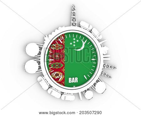Circle with energy relative silhouettes. Design set of natural gas industry. Objects located around the manometer circle. 3D rendering. Flag of the Turkmenistan