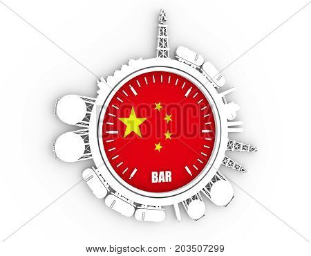 Circle with energy relative silhouettes. Design set of natural gas industry. Objects located around the manometer circle. 3D rendering. Flag of the China