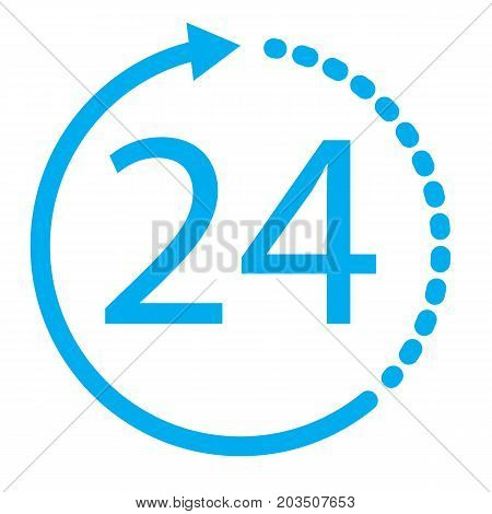 24 hours icon on white background. 24 hours sign. flat style design.