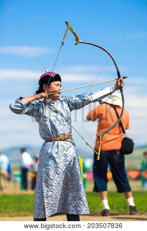 Naadam Festival Female Archery Woman Aiming Arrow