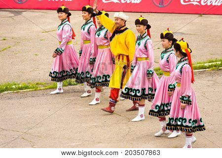 Naadam Festival Opening Ceremony Women Pink Dress
