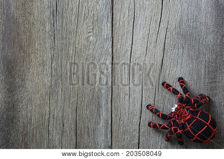 spider doll on old wooden background and have copy space for design in your work backdrop.