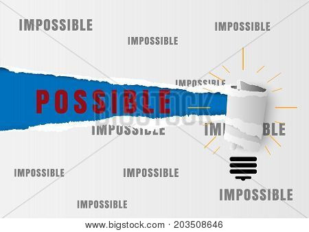 Against the current business concept as a metaphor for being impossible and strategy solutions problems with the idea as possible text written under white torn paper filled with impossible text.