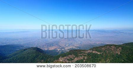Beautiful panorama scene view of Kew Mae Pan Nature Trail in Doi Inthanon National Park Chiang Mai Thailand