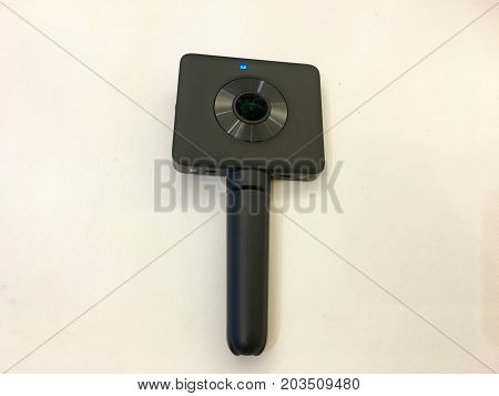 Wuhan China, 9 September 2017: Xiaomi MiJia Mi Sphere Chinese 360 degrees VR camera with tripod