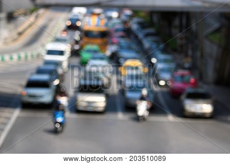 Abstract blur of traffic jam on the road in the city background.