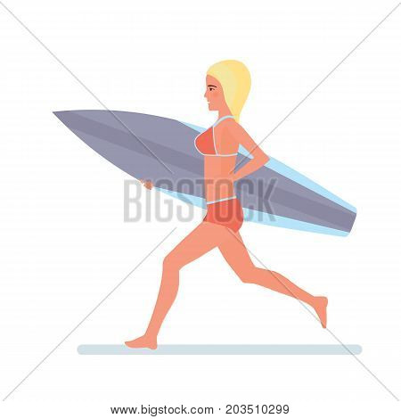 Summer vacation on sea and beach. Surfer girl holding a board for swimming in her hands, runs along the beach in a swimsuit. Surf travel. Character person. Vector illustration in cartoon style.