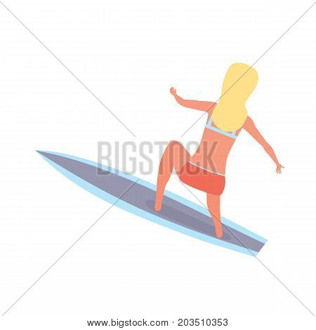 Summer vacation on sea and beach. Surfer girl, with legs in lap, is rolling on waves on board. Recreational beach water sport. Surf travel. Character person. Vector illustration in cartoon style.