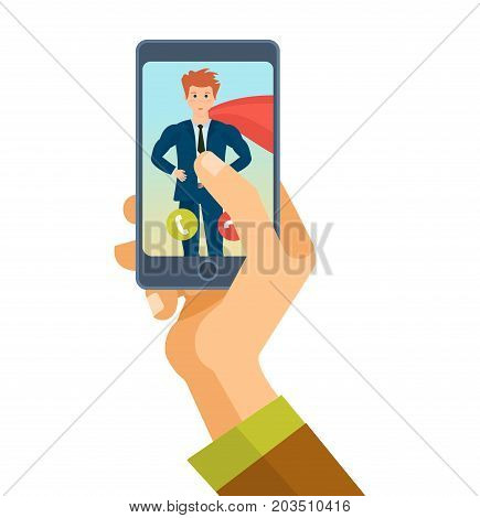 Hand holds smartphone. Mobile application. Communication and dialogue, voice communication on phone, instant messengers, online video call. Call superhero, call for help. Vector illustration isolated.