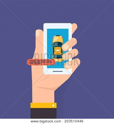 Hand holds the smartphone. Taxi ordering service and calling. Smartphone and touch screen, city skyscrapers. Mobile application for ordering a taxi. Vector illustration isolated.