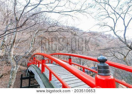 A red bridge in Ikaho Onsen on autumn is a hot spring town located on the eastern slopes of Mount Haruna famous place of Gunma PrefectureJapan.