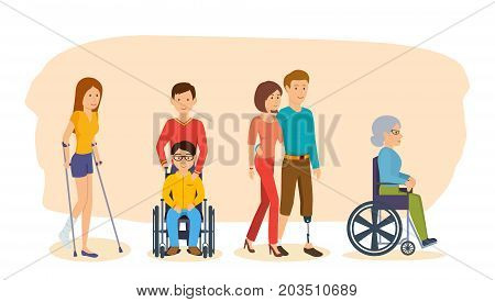 Disabled people and friends helping. Girl on crutches, man in chair, man with leg prosthesis, woman in chair, girl with fracture of arm. Group of people with disabilities. Vector illustration.