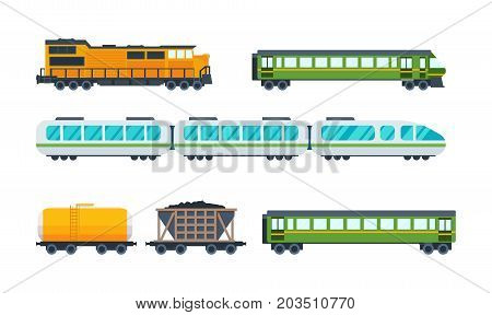 Railway locomotive with various wagons: transportation and cargo carriage coal. Wagons with passengers, freight, cisterns. Vector illustration isolated on white background.