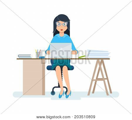 Young, beautiful girl - office worker, staff, in strict clothes, working at the computer in the cabinet. Vector illustration isolated in cartoon style.