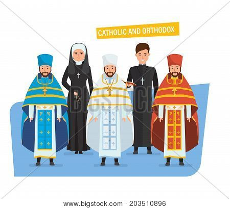 Catholic and orthodox christianity. Religious priests, nuns, in spiritual robes, cassocks. Vestments: for Passover, Mother of God Feasts, Nativity of Christ, Epiphany, Ascension Vector illustration