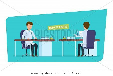 Character medical doctor. Healthcare and medical help. Doctor's office. Front and back view of the doctor in the treatment room. Vector illustration in cartoon style.