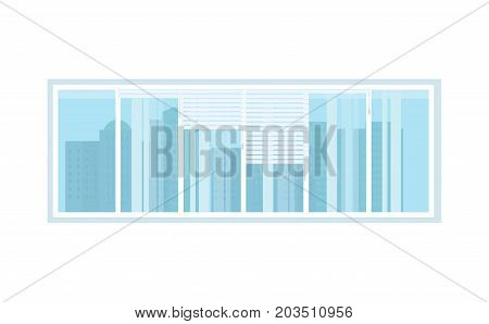 Window with blinds, overlooking the houses and streets of the city, in the interior of the room, with decorative decoration. Vector illustration isolated.