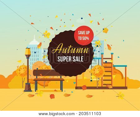 Autumn super sale background with colorful seasonal leaves. Special offers and discount systems. Autumn kids playground, entertainment in the form of horizontal bars and swings. Vector illustration.