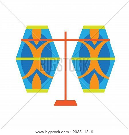 Carnival, masquerade, party and festive accessories. Festive rattles, colorful, funny. Vector illustration isolated on white background