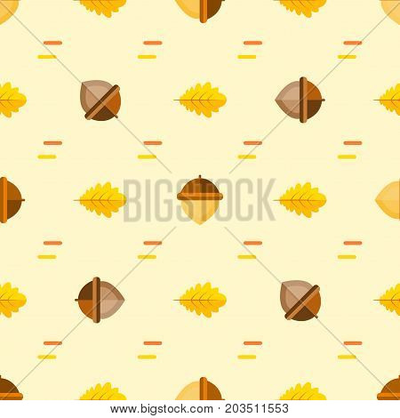 Seamless symmetrical pattern with acorns and autumn oak leaves orange, yellow on beige background. Vector background in style flat