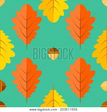 Seamless pattern with acorns and autumn oak leaves orange, yellow on green background. Vector background in style flat