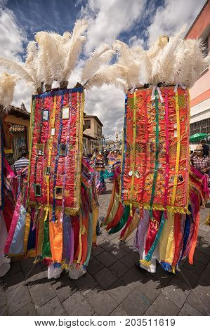 June 17 2017 Pujili Ecuador: being a dancer in the Corpus Christi parade is considered a honour and privilege by the indigenous population