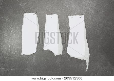 collection of white ripped pieces of paper on table background. each one is shot separately
