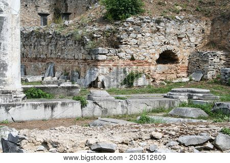Philippi Archaeology Site (Basillica A, dated 500 AD). These ruins from Ancient Philippi are from the area known as Basillica A, which dates from 500 AD. The ruins of this old church stand were Pagan temples would have stood in earlier centuries and likel