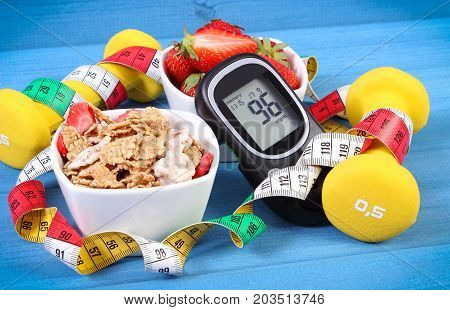 Glucometer With Sugar Level, Healthy Food, Dumbbells And Centimeter