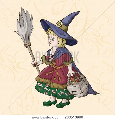 vector little girl in a witch costume with a broom and a basket of sweets