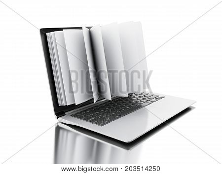 3D Open Book Turns Into An Open Laptop