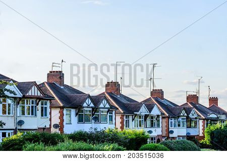 Evening View of Row of Typical English Terraced Houses in Northampton.