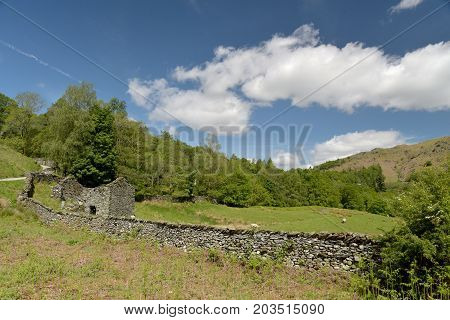 Shepherds hut above Rydalwater, English Lake District