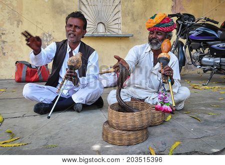 Snake Charmers At The Street Of Jaipur, India